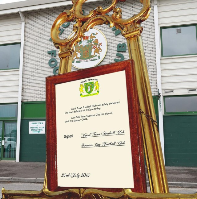 The Yeovil easel announcing new loan signing Alan Tate
