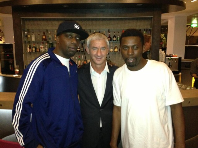 Ian Rush and Wu-Tang Clan members Inspectah Deck and GZA together in Olso, Norway