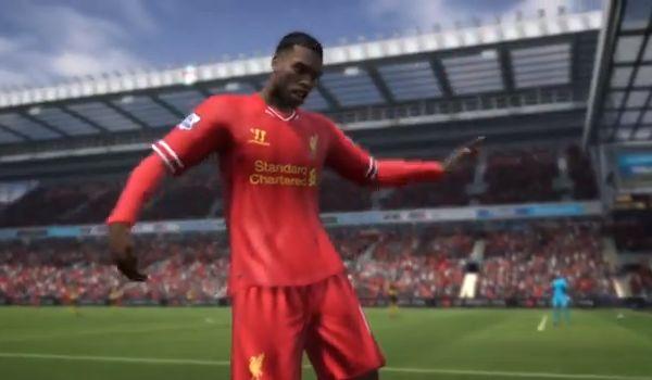 Daniel Sturridge celebrates in new Patrick Stewart FIFA 14 gameplay trailer