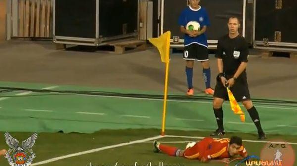 Armenia's Aras Özbiliz takes the worst corner ever in a World Cup qualifier against Denmark