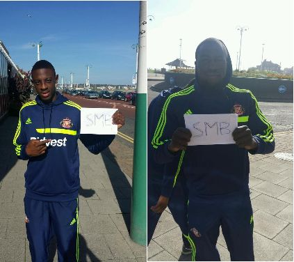 A Newcastle fan tricks Altidore and Ba into holding SMB signs