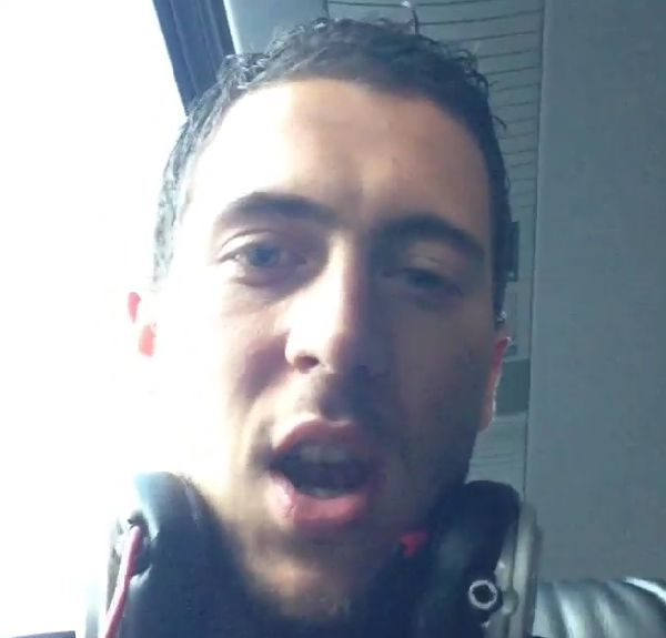 "Eden Hazard says ""wankers"" on the Belgian international team bus"