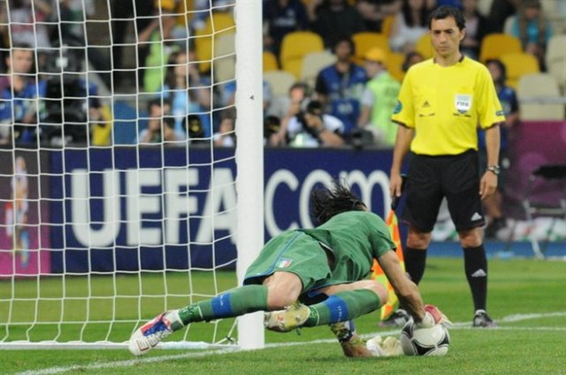 Gianluigi Buffon saves England penalty