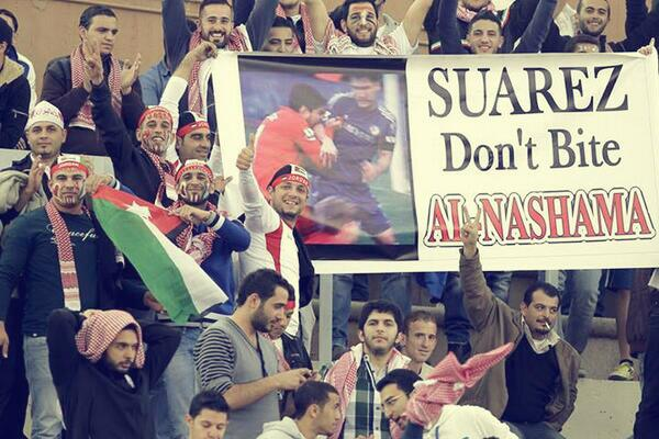 Jordan Suárez banner at World Cup play-off against Uruguay