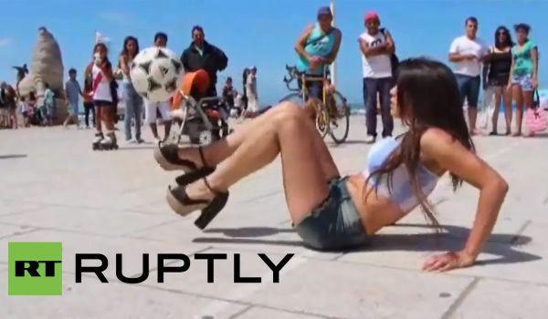 Argentinian model Fiorella Castillo does kick-ups in high heels
