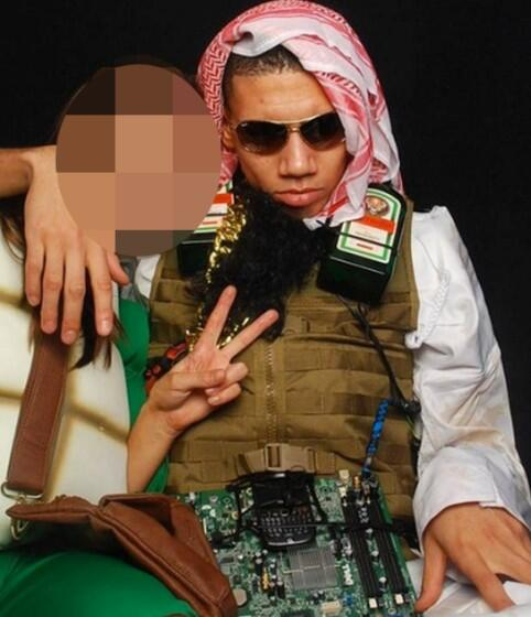 Chris Smalling suicide bomber fancy dress outfit