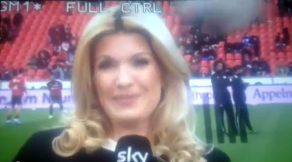 Jessica Kastrop stars in reporter hit on head by ball