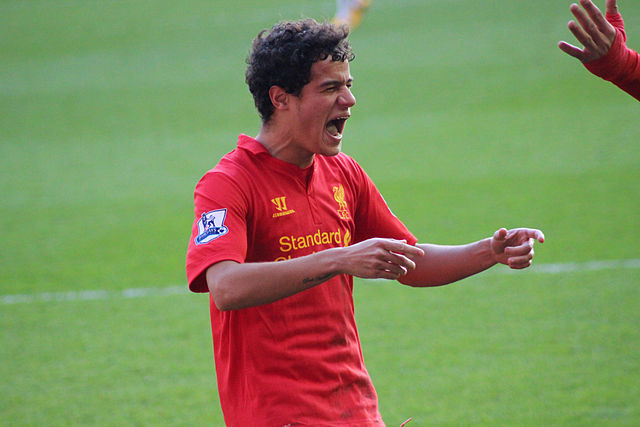 Philippe Coutinho's son sang a song for his dad, pictured here playing for Liverpool