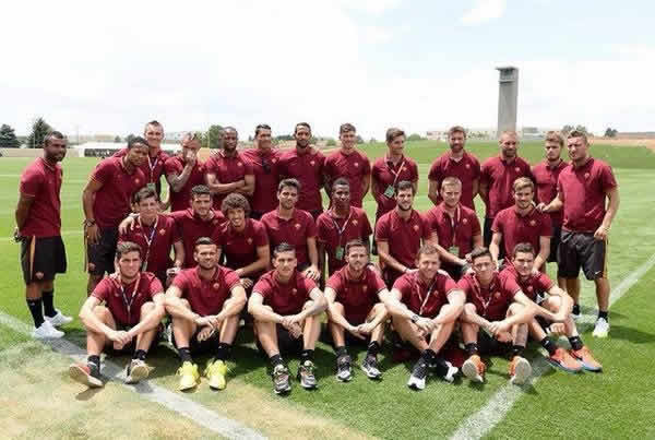 Lurking Ashley Cole in the Roma team photo that started it all