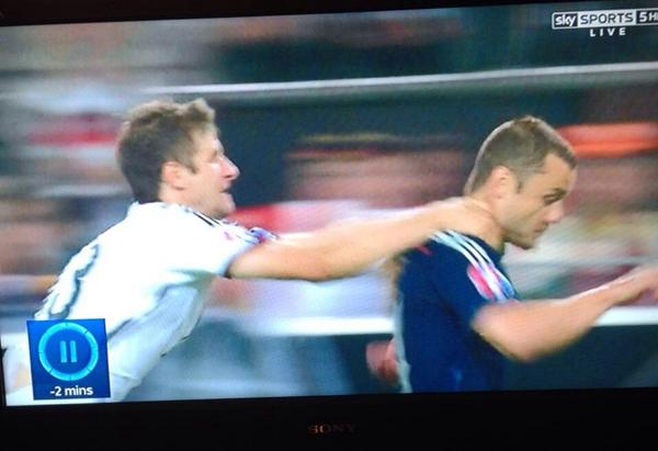 Thomas Müller's cynical foul on Shaun Maloney perhaps should have been a red card, as pointed out in many of the jokes and tweets from Germany v Scotland - Euro 2016 qualifier