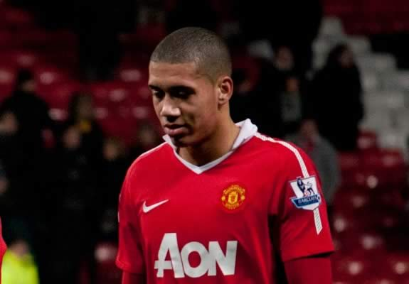 """Chris Smalling red card jokes were soon on Twitter following the United defender's """"stupid"""" dismissal before half-time against Manchester City"""
