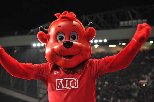 Fred the Red celebrates the latest Manchester City jokes after their 4-2 defeat to United at Old Trafford