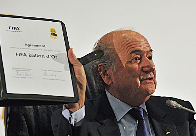 Sepp Blatter will have to enjoy the Ballon d'Or jokes as he watches the 2015 ceremony from afar