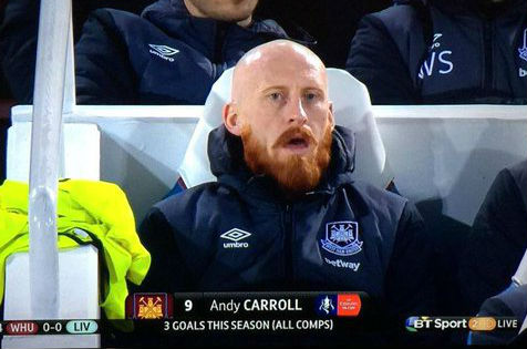 BT Sport mistakes James Collins for Andy Carroll during West Ham's 2-1 FA Cup win over Liverpool