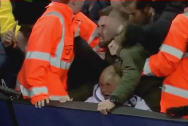 Old lady flattened by Spurs fans celebrating Harry Kane goal in 2-1 win at Man City