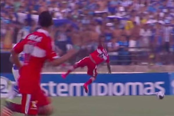 A commentator laughed hysterically as one player fouled himself