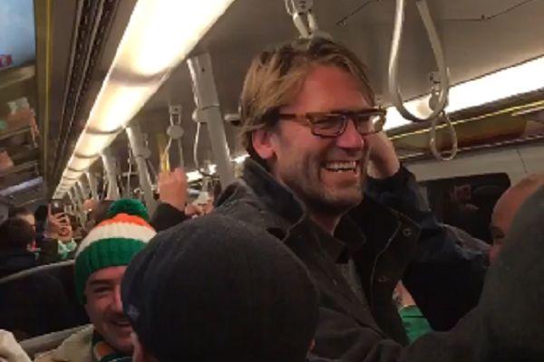 Republic of Ireland fans sing to Jürgen Klopp lookalike on Vienna Metro on their way to World Cup qualifier against Austria