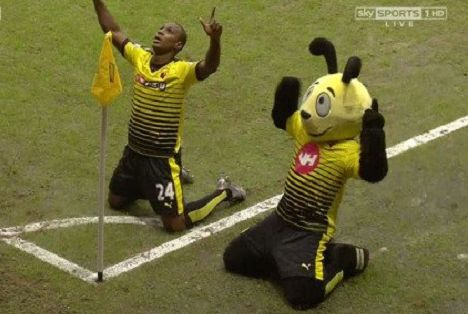 There were jokes as Watford mascot Harry the Hornet dives in front of Wilfried Zaha after 1-1 draw with Crystal Palace in which he was booked for simulation