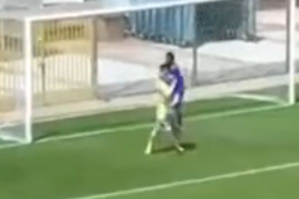 Gaziantep Büyükşehir Belediyespor reserves player hugs ball out of goalkeepers hands for own goal