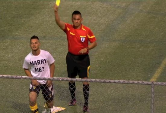 Player booked for marriage proposal in Guam league clash