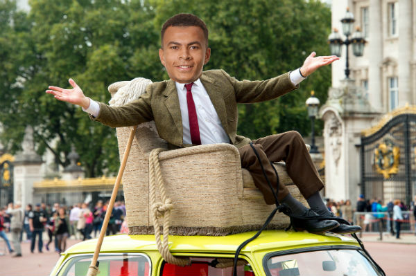Dele Alli as Mr Bean, who also showed the finger