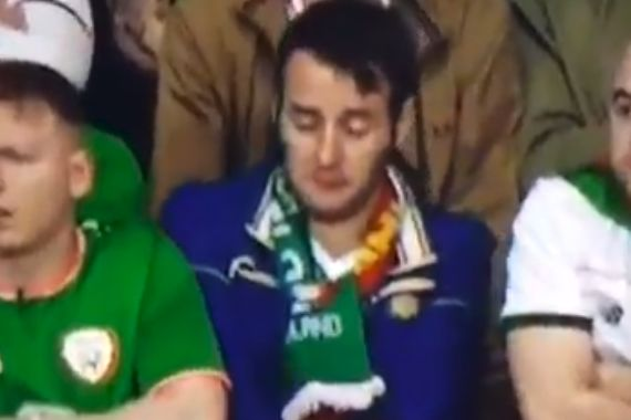 Republic of Ireland fan falling asleep in the crowd at World Cup qualifier against Wales