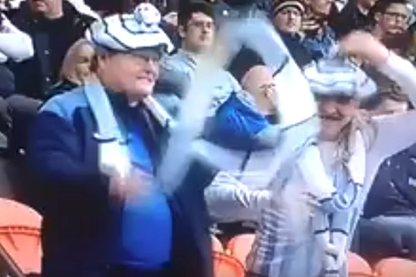 Dancing Coventry fans at Barnet in matching scarfs and hats for televised League Two 0-0 draw