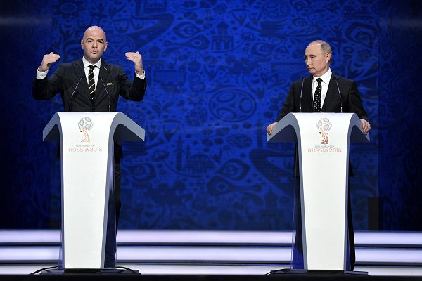 Hopefully Putin can smile at the jokes from the World Cup draw 2018 in Russia