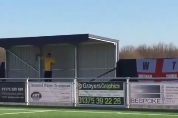 The only Witham Town fan who travelled to Grays Athletic was singing all game