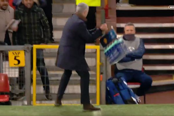 There were lots of tweets and jokes as José Mourinho celebrated Marouane Fellaini's winner goal in Man Utd's 1-0 win over Young Boys, by throwing and kicking drinks bottles