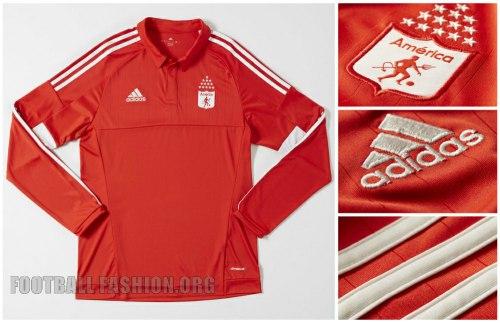 América de Cali 2015 adidas Home Soccer Jersey, Football Kit, Shirt, Camiseta de Futbol