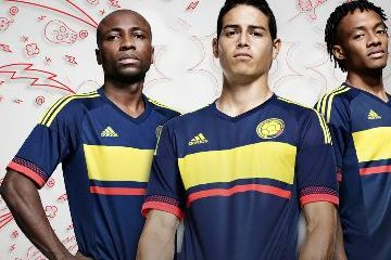 Colombia Yellow 2015 Copa America and World Cup adidas Away Soccer Jersey, Shirt, Football Kit, Camiseta de Futbol Azul