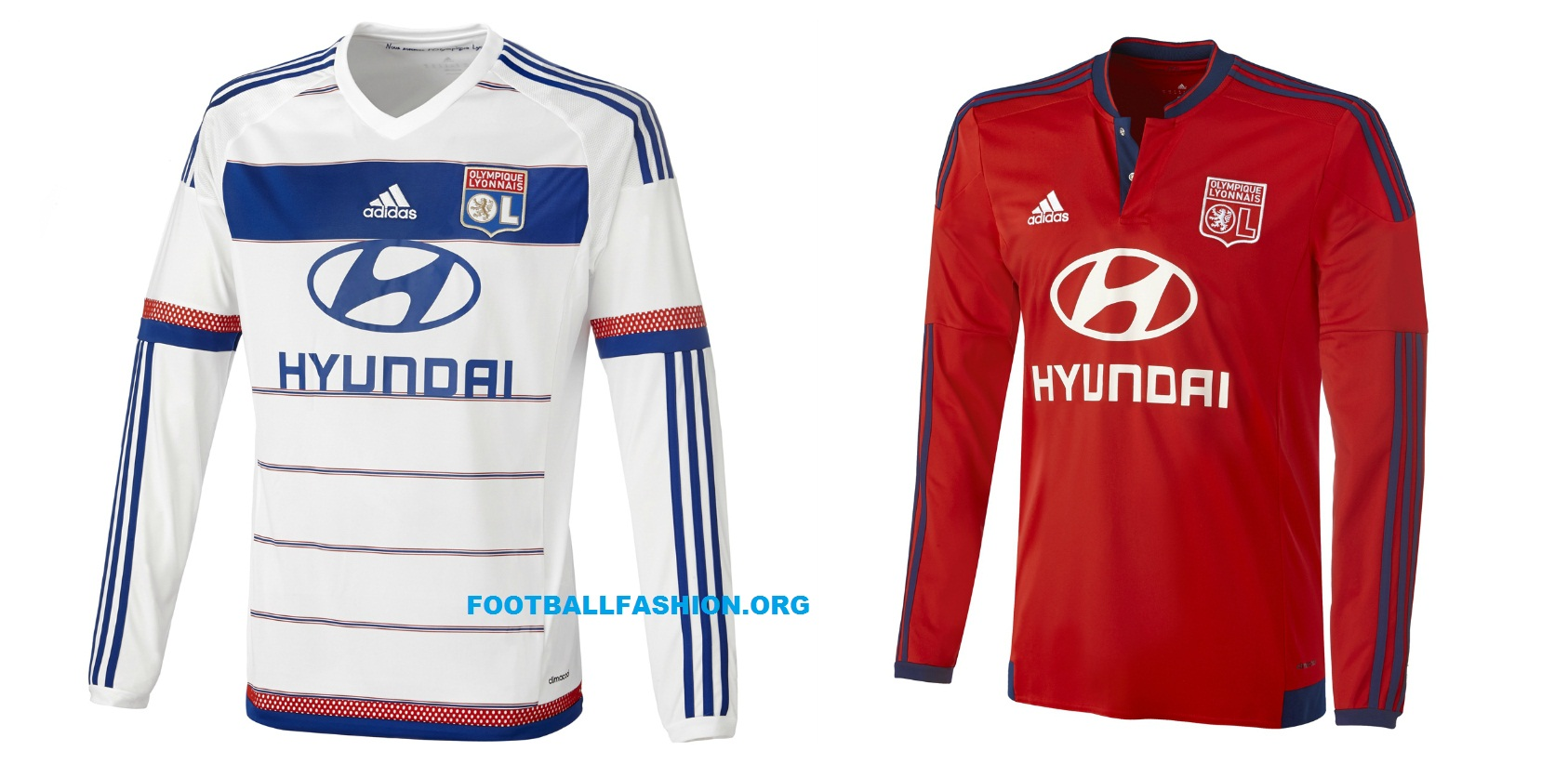 wholesale dealer b3303 efc59 Olympique Lyon 2015/16 adidas Home and Away Kits - FOOTBALL ...