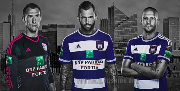 RSC Anderlecht 2015 2016 adidas Home Football Kit, Soccer Jersey, Maillot, Tenue, Shirt