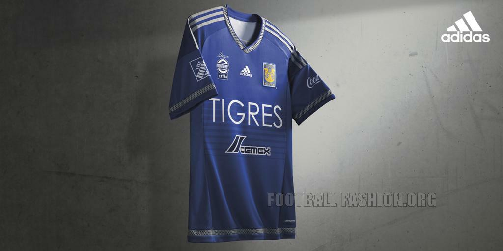 720b0735c The Tigres 2015 16 adidas home kit was worn during their 3-1 home win  against Inter. It is in the traditional gold of the Monterrey side with  blue used for ...