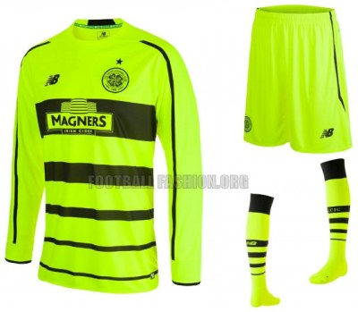 Celtic FC 2015 206 New Balance Bumblebee Yellow Third European Football Kit, Soccer Jersey, Shirt