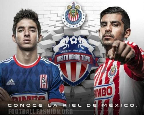 Chivas de Guadalajara 2015 2016 adidas Home and Away Soccer Jersey, Football Kit, Shirt, Camiseta de Futbol, Equipacion, Piel