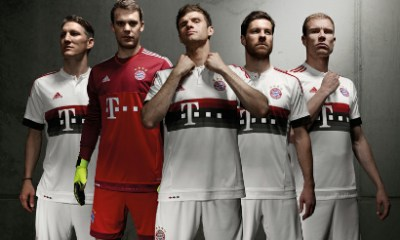 FC Bayern München 2015 2016 adidas White Away Football Kit, Soccer Jersey, Shirt, Bayern Munich Trikot, Auswärts-Trikot 2015/16