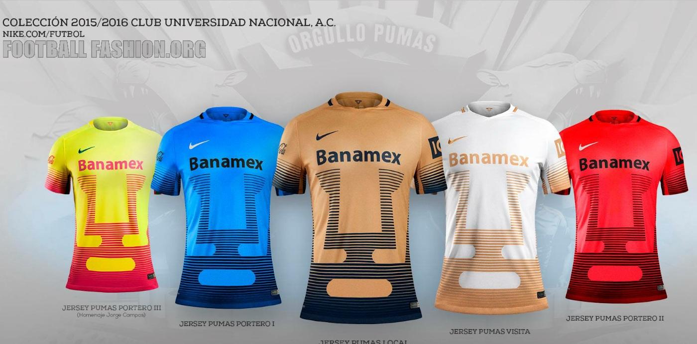 separation shoes b9576 c60b1 Pumas de la UNAM 2015/16 Nike Home and Away Jerseys ...