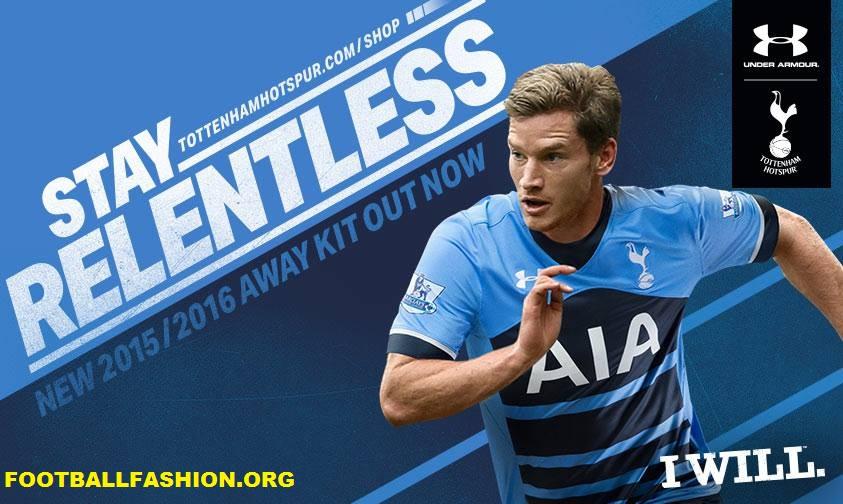 fc35da5dbca67 Tottenham Hotspur 2015 2016 Under Armour Blue Away Football Kit, Soccer  Jersey, Shirt,