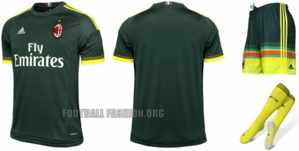 AC Milan 2015 2016 Green adidas Third Football Kit, Soccer Jersey, Shirt, Gara. Maglia, Camiseta, Maillot