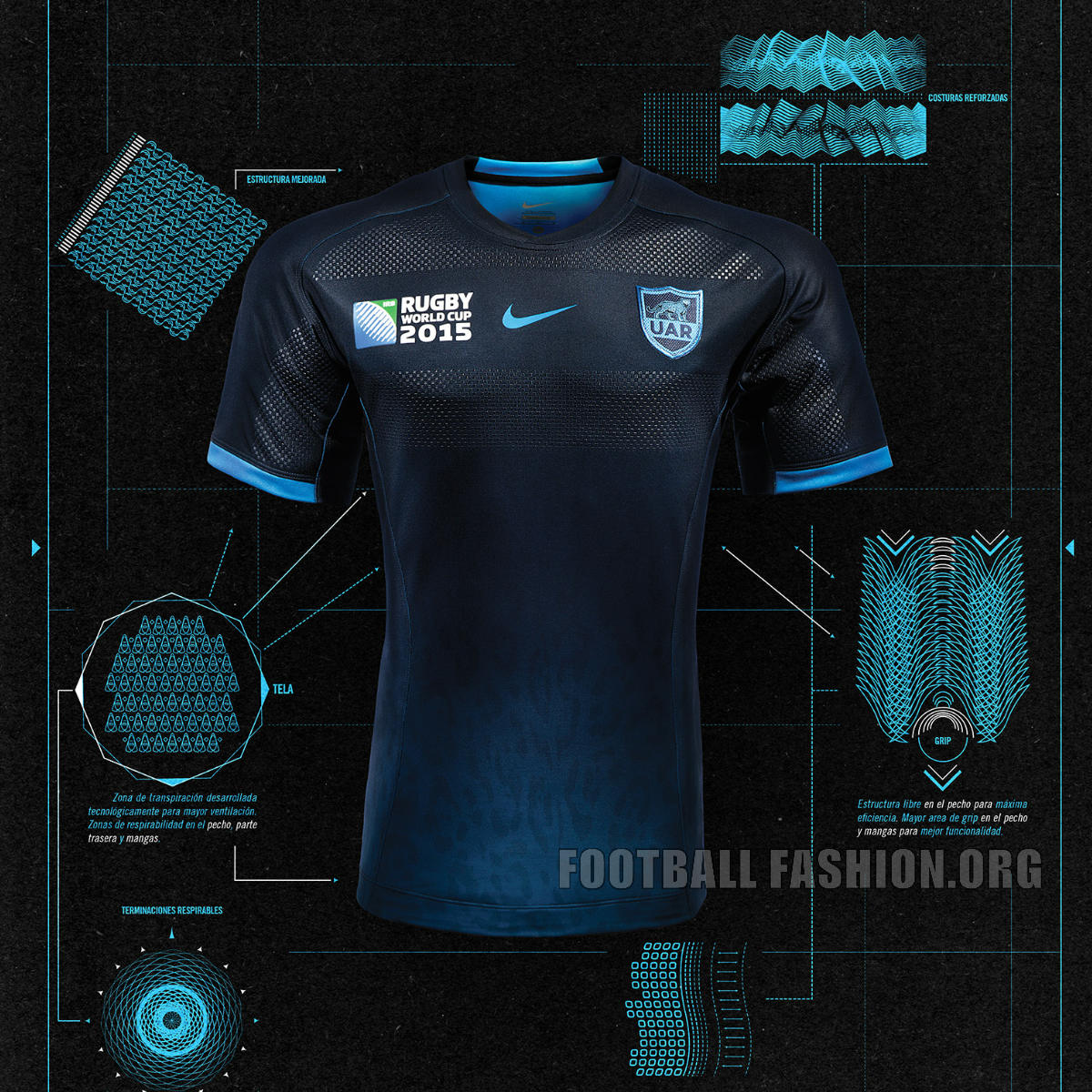 8843c5f171 Argentina 2015 Rugby World Cup Nike Home and Away Jerseys – FOOTBALL ...