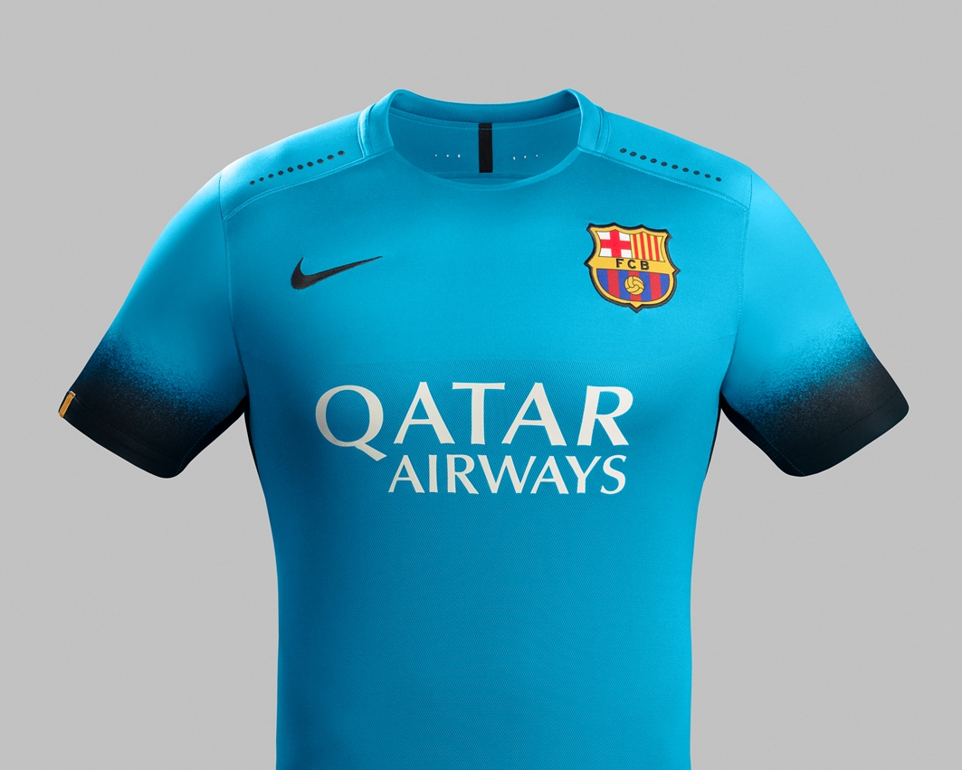 Fc barcelona reveal bright blue 2015 16 nike third kit football fashion org - The body shop barcelona ...