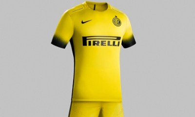 Inter Milan 2015 2016 Nike Yellow Third Soccer Jersey, Football Kit, Shirt, Maglia, Gara, Camiseta, Equipacion, Trikot
