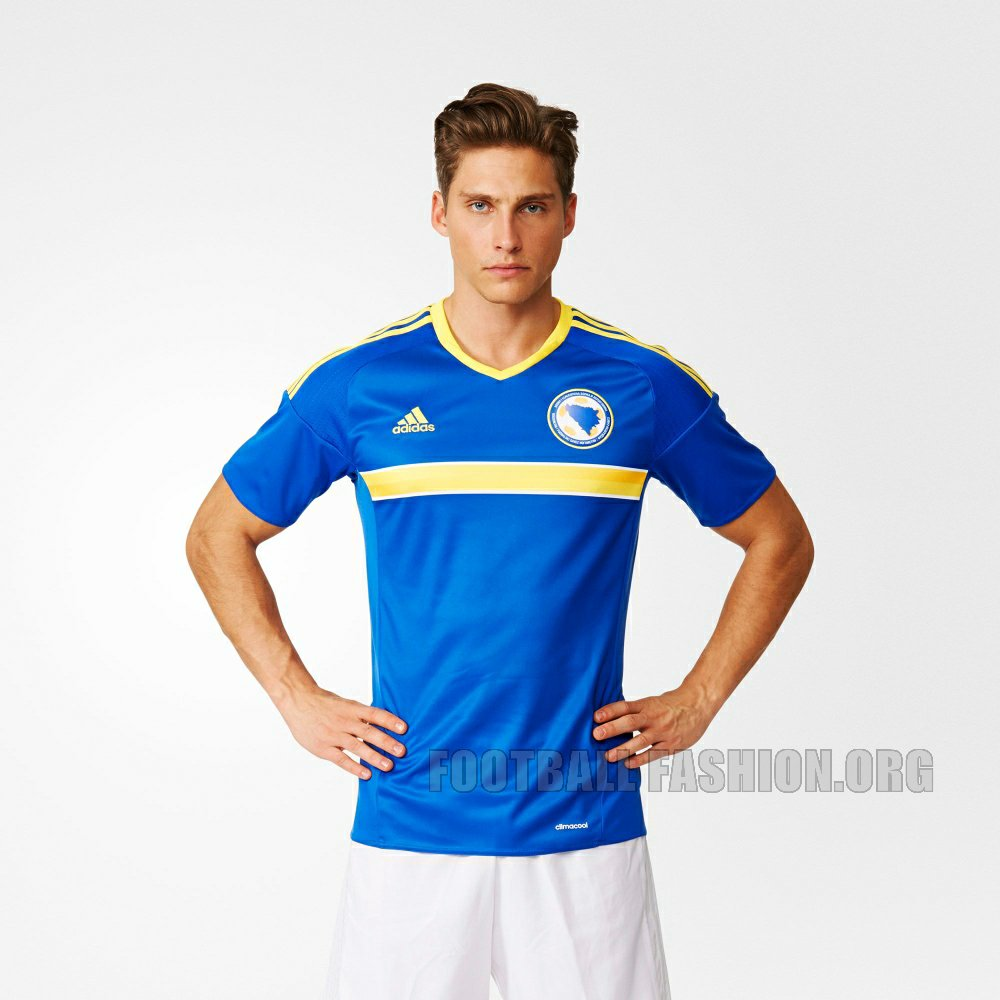 b6756fe45 The Bosnia and Herzegovina 16/17 away kit uses the same adidas template as  the home jersey. It has a white base and is highlighted by a light gray  boxed ...