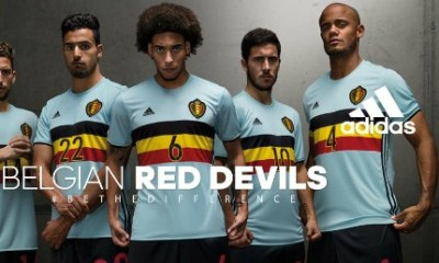 Belgium EURO 2016 Light Blue adidas Home Away Soccer Jersey, Shirt, Football Kit, Maillot, Tenue, Uitshirt