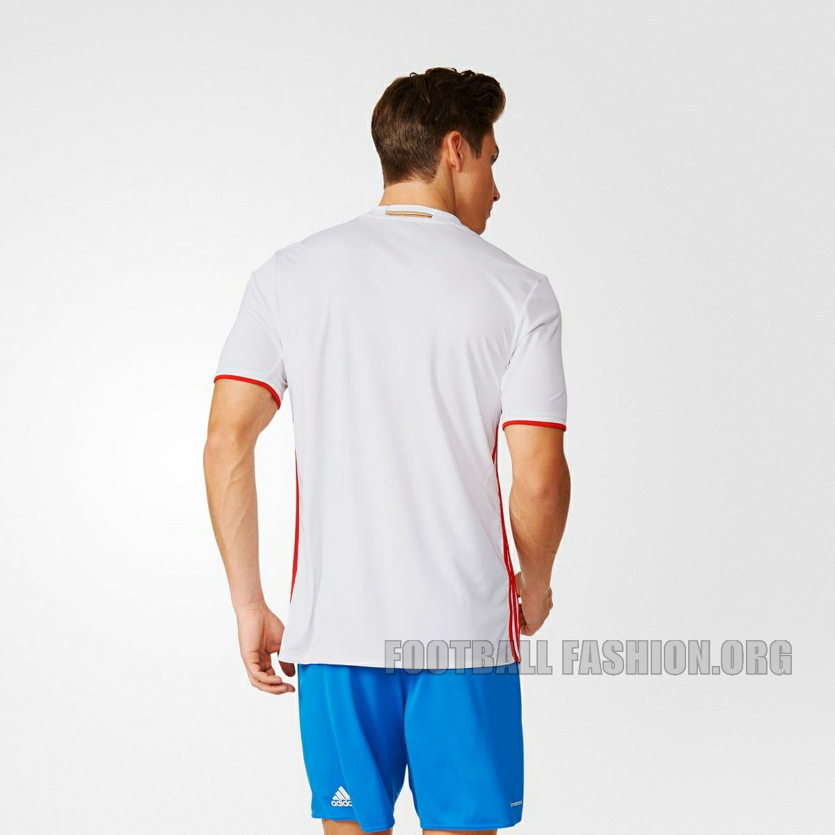 The mainly white Russia EURO 2016 away kit is in the colors of the  country s national flag. It features a rounded collar complemented by  bright red stripes ... 2599909ab5402
