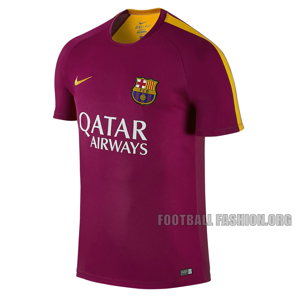 fc barcelona 2016 nike training and pre match jerseys football fashion org. Black Bedroom Furniture Sets. Home Design Ideas