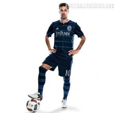 Sporting Kansas City 2016 adidas Away Soccer Jersey, Football Kit, Shirt, Camiseta de Futbol MLS