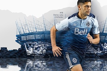 "Vancouver Whitecaps FC 2016 Blue ""Sea to Sky"" adidas Away Soccer Jersey, Football Kit, Shirt, Maillot"